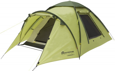 Палатка 3-местная Outventure Cadaques 3Легкая и комфортабельная трехместная палатка для любого вида туризма и несложных путешествий. Вместительность трехместная палатка с двумя входами и просторным тамбуром.<br>Назначение: Туристические; Количество мест: 3; Наличие внутренней палатки: Есть; Тип каркаса: Внутренний; Геометрия: Полусфера; Вес, кг: 4,6; Размер в собранном виде (д х ш х в): 345 x 190 x 120 см; Размер в сложенном виде (дл. х шир. х выс), см: 58 x 16 x 16 см; Размер тамбура (д х ш х в): 80/50 x 190 x 120 см; Количество комнат: 1; Количество входов: 2; Вентиляционные окна: Есть; Количество вентиляционных окон: 2; Окна: Есть; Количество окон: 2; Диаметр дуг: 8,5 мм; Внешний тент: Есть; Усиленные углы: Есть; Количество оттяжек: 9; Водонепроницаемость тента: 2000 мм в.ст.; Водонепроницаемость дна: 10 000 мм в.ст.; Проклеенные швы: Есть; Противомоскитная сетка: Есть; Материал тента: Полиэстер; Материал внутренней палатки: Полиэстер; Материал дна: Армированный полиэтилен; Материал каркаса: Фибергласс; Материал колышков: Сталь; Вид спорта: Походы; Производитель: Outventure; Артикул производителя: KE147G4; Срок гарантии: 2 года; Страна производства: Бангладеш; Размер RU: Без размера;