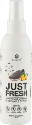 Средство уничтожающее бактерии и запахи в обуви NanomaxСредства по уходу за обувью<br>Дезодорант для обуви с экстрактом лимона nanomax just fresh.