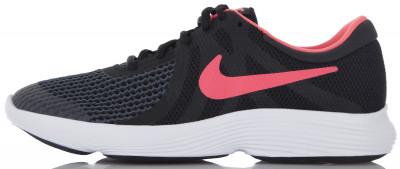 Кроссовки для девочек Nike Revolution 4Легкие детские кроссовки nike revolution 4 - оптимальный вариант для бега. Амортизация промежуточная подошва из пеноматериала эффективно гасит ударные нагрузки.<br>Пол: Женский; Возраст: Дети; Вид спорта: Бег; Способ застегивания: Шнуровка; Материал верха: 60 % текстиль, 40 % пластик; Материал подкладки: 100 % текстиль; Материал подошвы: 60 % резина, 40 % пластик; Производитель: Nike; Артикул производителя: 943306-004; Страна производства: Индонезия; Размер RU: 36,5;