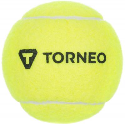 Мяч для большого тенниса TorneoМяч для тренировок детей и взрослых начинающих игроков. Подойдет для игры на любом виде покрытия.<br>Пол: Мужской; Возраст: Взрослые; Вид спорта: Большой теннис; Тип поверхности: Универсальные; Материалы: Резина, фетр - 100 % полиэстер; Диаметр: 63-66 мм; Производитель: Torneo; Артикул производителя: TRN-TB100; Срок гарантии: 1 год; Страна производства: Китай; Размер RU: Без размера;