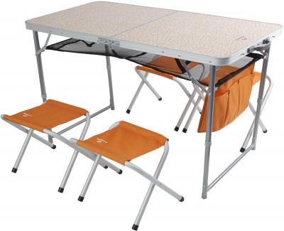 Набор Outventure: стол, 4 стулаУдобный вариант мебели для кемпинга. Удобство хранения и транспортировки складная конструкция стола и стульев идеальна для транспортировки: стулья убираются в стол.<br>Максимальная нагрузка, кг: Стол - до 30 кг, стулья - до 100 кг; Размер в рабочем состоянии (дл. х шир. х выс), см: Стол: 120 х 60 х 70, стул: 41 х 29 х 34; Размер в сложенном виде (дл. х шир. х выс), см: 65 х 18 х 64; Материал каркаса: Стол - сталь, стулья - алюминий; Материал столешницы (для столов): МДФ; Материал сидушки: Полиэстер; Вес, кг: 7,6; Вид спорта: Кемпинг; Производитель: Outventure; Артикул производителя: IE41852; Срок гарантии: 2 года; Страна производства: Китай; Размер RU: Без размера;