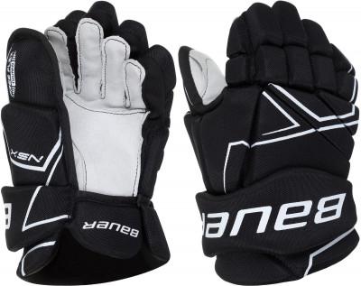 Перчатки хоккейные детские Bauer NSX SRХоккейная защита <br>Хоккейные перчатки полевого игрока из новой линейки bauer nsx sr. Модель начального уровня имеет удобную посадку, обеспечивает над жную защиту и гибкость.
