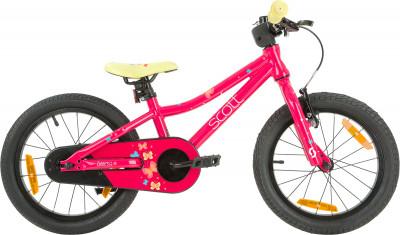 Contessa 16 (2019), размер 95-125Велосипеды<br>Велосипед с заниженной рамой scott contessa 16, созданный специально для девочек 4-6 лет. Легкость в модели использована легкая алюминиевая рама.