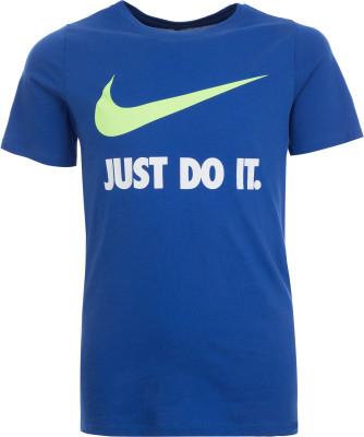 Футболка для мальчиков Nike Just Do ItФутболка для мальчиков nike just do it станет отличным дополнением спортивного стиля. Комфорт ткань, выполненная из натурального хлопка, приятна к телу.<br>Пол: Мужской; Возраст: Дети; Вид спорта: Спортивный стиль; Покрой: Прямой; Материалы: 100 % хлопок; Производитель: Nike; Артикул производителя: 709952-480; Страна производства: Китай; Размер RU: 147-158; Цвет: Синий;