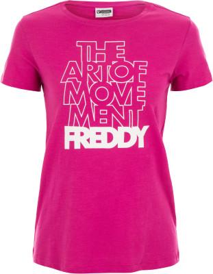 Футболка женская Freddy Choose Your Look, размер 44-46Футболки<br>Классика спортивного стиля от freddy - удобная футболка с крупной графикой на груди. Натуральные материалы мягкая воздухопроницаемая ткань выполнена из натурального хлопка.