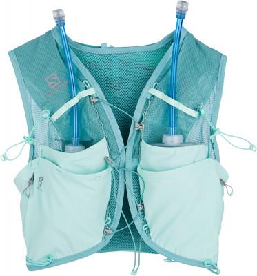 Рюкзак-жилет женский Salomon Adv Skin 8 Set WЖенская одежда<br>Рюкзак для бега advanced skin 8 set w от salomon, разработанный специально для женщин. Особая конструкция уменьшает давление на грудную клетку.
