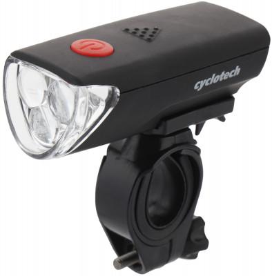 Фонарь велосипедный передний CyclotechПередний велосипедный фонарь cyclotech. Особенности модели количество светодиодов: 3 влагозащитный корпус светопоток: 40 люмен. Крепеж на руль в комплекте.<br>Материалы: Пластик; Световой поток (люмен): 40 люмен; Тип батареек: 3xAAA; Размеры (дл х шир х выс), см: 8 х 3,5 х 2,8; Регулировка светового потока: Да; Количество режимов работы: 3; Вид спорта: Велоспорт; Производитель: Cyclotech; Артикул производителя: QL-230A.; Страна производства: Китай; Размер RU: Без размера;