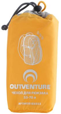 Накидка на рюкзак Outventure, 55-70 лУдобная накидка для рюкзака объемом 55-70 л защитит вещи от воды и грязи изготовлена из водонепроницаемой ткани. Упаковывается в специальный мешок.<br>Пол: Мужской; Возраст: Взрослые; Вид спорта: Кемпинг, Походы; Состав: 100 % полиэстер; Производитель: Outventure; Артикул производителя: IE6023D2; Срок гарантии: 2 года; Страна производства: Китай; Размер RU: Без размера;