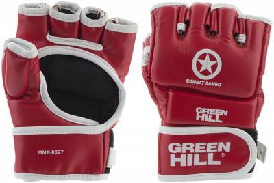 Перчатки Green Hill Combat SamboНадежные перчатки из качественной искуственной кожи, одобрены федерацией самбо преимущества удобная посадка; ударная поверхность с утолщением; манжет на липучке; подходят<br>Тип фиксации: Липучка; Материал верха: Искусственная кожа; Материал наполнителя: Пенополиуретан; Материал подкладки: Полиэстер; Вид спорта: ММА, Самбо; Производитель: Green Hill; Артикул производителя: MR-00271; Срок гарантии: 3 месяца; Страна производства: Пакистан; Размер RU: M;