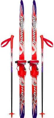 Комплект лыжный детский Nordway Flame SoftЛыжный комплект для детей от 3 до 5 лет. С ним ваш ребенок сможет сделать свои первые шаги на лыжах. Лыжи удобно брать с собой на прогулку.<br>Сезон: 2014/2015; Стиль катания: Классический; Уровень подготовки: Начинающий; Пол: Мужской; Возраст: Дети; Вид спорта: Беговые лыжи; Система креплений: Soft; Сердечник: WOOD CORE; Геометрия: 50-50-50; Система насечек: STEP GRIP; Скользящая поверхность: EXTRUDED BASE; Технологии: Standard Base, Step Grip, Wood Core; Производитель: Nordway; Артикул производителя: 14FLMSF110; Страна производства: Россия; Размер RU: 110;