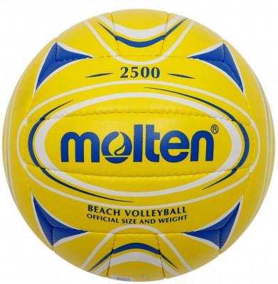 Мяч для пляжного волейбола MoltenМяч для пляжного волейбола: изготовлен из мягкой синтетической кожи для мягкого контакта с рукой; отличные игровые характеристики; ручное шитье.<br>Сезон: 2015; Возраст: Взрослые; Вид спорта: Волейбол; Тип поверхности: Для пляжа; Назначение: Тренировочные; Материал покрышки: Синтетическая кожа; Материал камеры: Резина; Способ соединения панелей: Ручная сшивка; Количество панелей: 18; Вес, кг: 0,26-0,28; Производитель: Molten; Артикул производителя: V5B2500-YB; Срок гарантии: 2 года; Страна производства: Пакистан; Размер RU: 5;