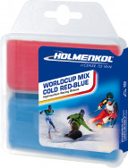 Мазь скольжения твердая для лыж и сноубордов HOLMENKOL Worldcup Mix COLD Red-Blue
