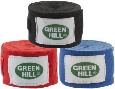 Бинт Green Hill, 3,5 м, 2 шт.Эластичный бинт из стопроцентного полиэстера, который крепится при помощи застежки-липучки. В комплекте 2 бинта размером 3, 5 м. Цвета: красный, синий, черный.<br>Материалы: 100 % полиэстер; Вид спорта: Бокс, ММА; Производитель: Green Hill; Артикул производителя: BP-6232; Размер RU: 3,5 м;