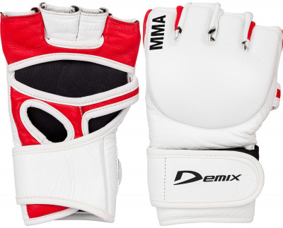 Перчатки MMA DemixПерчатки мма изготовлены из натуральной кожи, предназначены для занятий смешанными единоборствами. Удобная открытая конструкция перчатки.<br>Тип фиксации: Липучка; Материал верха: Натуральная кожа; Материал наполнителя: Пенополиуретан; Вид спорта: ММА; Производитель: Demix; Артикул производителя: DCS-205MMS; Срок гарантии: 3 месяца; Страна производства: Пакистан; Размер RU: S-M;