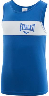 Майка боксерская детская Everlast EliteБоксерская форма включает в себя шорты и майку, в которых спортсмен тренируется. Одежда, как правило, окрашена в синий и красный цвет углов ринга.<br>Пол: Мужской; Возраст: Дети; Вид спорта: Бокс; Состав: 100 % полиэстер; Технологии: EverDri; Производитель: Everlast; Артикул производителя: 3651 146 BL/WH; Страна производства: Россия; Размер RU: 146;