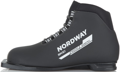 Ботинки для беговых лыж Nordway SkeiЛыжные ботинки для классического хода. Отличный выбор для начинающих лыжников. Долговечность верх выполнен из морозостойкого материала.<br>Назначение: Прогулочные; Стиль катания: Классический; Уровень подготовки: Начинающий; Пол: Мужской; Возраст: Взрослые; Система креплений: 75 мм; Система шнуровки: Открытая; Технологии: Biometric, Froztex; Производитель: Nordway; Артикул производителя: DXB0059942; Срок гарантии: 1 год; Страна производства: Россия; Размер RU: 42;