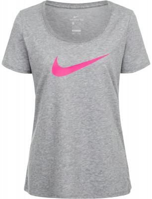 Футболка женская Nike DryЖенская футболка из влагоотводящей ткани nike dry оптимально подходит для интенсивных фитнес-тренировок.<br>Пол: Женский; Возраст: Взрослые; Вид спорта: Фитнес; Покрой: Прямой; Технологии: Nike Dri-FIT; Производитель: Nike; Артикул производителя: 894663-091; Страна производства: Вьетнам; Материалы: 58 % хлопок, 42 % полиэстер; Размер RU: 42-44;