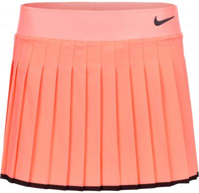 Юбка-шорты для тенниса женская Nike VictoryЖенская юбка из легкой эластичной ткани nike victory - отличный выбор для тенниса. Свобода движений складки позволяют свободно двигаться на корте.<br>Пол: Женский; Возраст: Взрослые; Вид спорта: Теннис; Внутренние шорты: Да; Материал верха: 88 % полиэстер, 12 % эластан; Технологии: Nike Dri-FIT; Производитель: Nike; Артикул производителя: 728773-676; Страна производства: Камбоджа; Размер RU: 42-44;