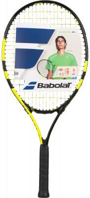 Ракетка для большого тенниса детская Babolat Nadal Junior 25Детская ракетка nadal junior 25 для начинающих теннисистов разработана специально для тех, кто мечтает следовать по стопам рафаэля надаля.<br>Вес (без струны), грамм: 240; Материал ракетки: Алюминий; Стиль игры: Защитный стиль; Размер головы: 680 кв.см; Длина: 25; Материалы: Алюминий; Наличие струны: В комплекте; Наличие чехла: Опционально; Вид спорта: Теннис; Производитель: Babolat; Артикул производителя: 140180-142; Срок гарантии: 2 года; Страна производства: Франция; Размер RU: Без размера;