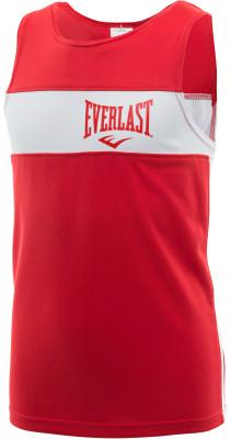 Майка боксерская детская Everlast EliteБоксерская форма включает в себя шорты и майку, в которых спортсмен тренируется. Одежда, как правило, окрашена в синий и красный цвет углов ринга.<br>Пол: Мужской; Возраст: Дети; Вид спорта: Бокс; Состав: 100 % полиэстер; Технологии: EverDri; Производитель: Everlast; Артикул производителя: 3651 158 RD/WH; Страна производства: Россия; Размер RU: 158;
